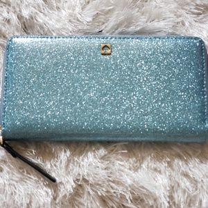 Kate Spade Light Blue Glitter Wallet
